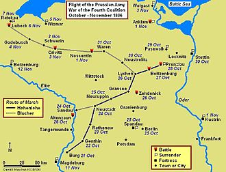 Battle of Lübeck - Prenzlau-Lübeck Campaign Map, showing routes of Hohenlohe and Blücher