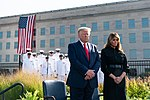 President Donald J. Trump and First Lady Melania Trump participate in a moment of silence during the September 11th Pentagon Observance Ceremony (48727617316).jpg