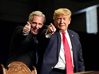 McCarthy with Donald Trump in Bakersfield, California, in 2020. President Trump Delivers Remarks on Water Accessibility - 02.jpg