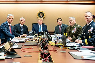 Pence (second from left) during the U.S. military raid on ISIL leader Abu Bakr al-Baghdadi on October 26, 2019 President Trump Watches as U.S. Special Operations Forces Close in on ISIS Leader (48967991042).jpg