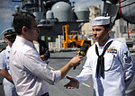 Press conference aboard future USS America during visit to Brazil 140806-N-FR671-313.jpg