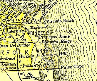 Princess Anne County, Virginia - County of Princess Anne (1691-1963), now extinct, from 1895 Virginia map
