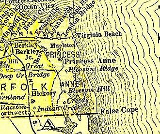 Virginia Beach, Virginia - Princess Anne County (1691–1963), now extinct, with Virginia Beach from 1895 Virginia map