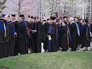 Academic doctors gather before the April 2008 Commencement exercises at Brigham Young University.