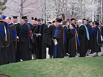 Academic doctors gather before a graduation pr...