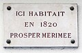 Prosper Merimee plaque - 25 rue Tournefort, Paris 5.jpg