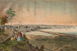 History of Providence, Rhode Island - Providence, harbor view, 1858