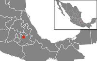 Location of Puebla in central Mexico