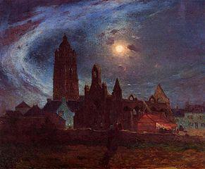 Bourg-de-Batz Church under the Moon