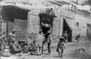 Pulqueria - A pulqueria in Tacubaya, Mexico City, Mexico, circa 1884-1885