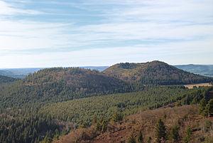 Puy - Puy de Montjuger and Puy de Pourcharet, Puy-de-Dôme, France.