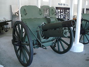 QF 4.5-inch howitzer - 1916 model used by Finland, at the Hämeenlinna Artillery Museum