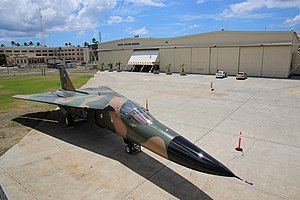 Pacific Aviation Museum Pearl Harbor - The arrival of a retired Royal Australian Air Force F-111C in front of hangar 37.