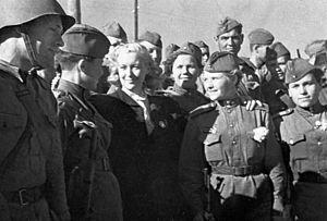 Azerbaijan in World War II - Lyubov Orlova sees off soldiers to Balajary station (Baku)