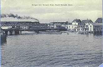 Norwalk River - Railroad bridge between South Norwalk and East Norwalk over the Norwalk River (from a postcard mailed in 1914)