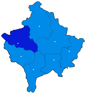 Localisation du district de Pejë/Peć au Kosovo