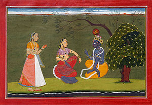 Bahsoli painting of Radha and Krishna in Discu...