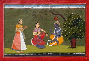 Bahsoli painting of Radha and Krishna in Discu...