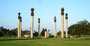 Assassination of Rajiv Gandhi - Seven pillars, each featuring a human value surrounds the site of the blast, at the Rajiv Gandhi Memorial in Sriperumbudur.