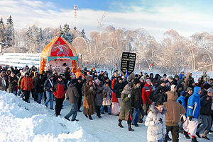 Hinduism in Russia - Russian Hindus celebrating Rath Yatra.