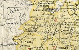 Fürstenstaat Ratlam auf einer Karte aus The Imperial Gazetteer of India (1907–1909)