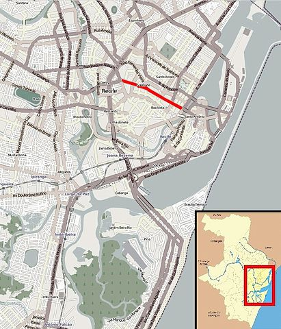 Recife Map By AndersonPv (Own work) [CC-BY-SA-3.0 (http://creativecommons.org/licenses/by-sa/3.0)], via Wikimedia Commons