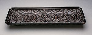 Carved lacquer - Changfang Pan (rectangular tray) with Sword-Pommel Pattern, black with red layers, Middle Ming, about 1450–1550