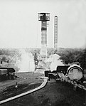 Redstone missile test firing at Redstone Test Stand, early 1950s (9306763).jpg
