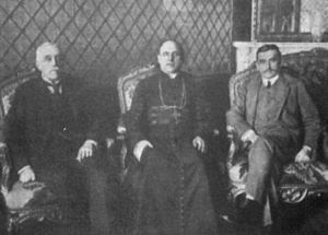 Kingdom of Poland (1917–18) - The Regency Council. Left to right: Ostrowski, Kakowski, Lubomirski.