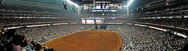 The annual Houston Livestock Show and Rodeo held inside the Reliant Stadium.