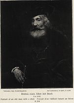Rembrandt - Portrait of a rabbi in a beret holding a cane.jpg