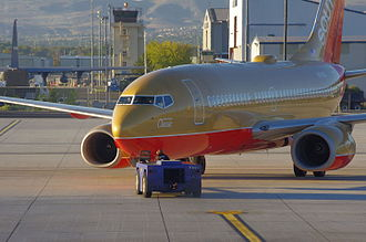Reno–Tahoe International Airport - A Southwest Airlines Boeing 737-700 being pushed back