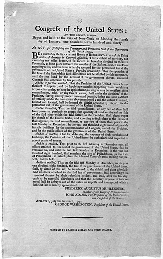 Residence Act - Residence Act of 1790