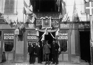 "Provisional Government of National Defence - Restaurant ""Verdun"" in Thessaloniki, decorated in support of Venizelos and the National Defence regime, 1916."