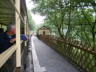 Rheidol Falls railway station - A train standing at Rheidol Falls railway station.