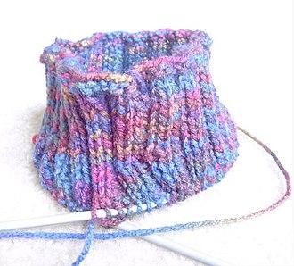 Circular knitting - Knitting using a circular needle.