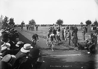 Richard Arnst - Richard Arnst leading a group of cyclists to the finish line in a two-mile scratch race