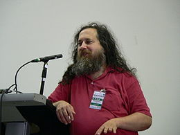 Richard Stallman speaking at Wikimania 2005-08-07.jpg