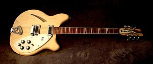 The Byrds - A Rickenbacker 360 12-string guitar similar to the one used by Jim McGuinn in 1964 and 1965. By 1966, McGuinn had transitioned to playing the three pickup 370/12 model.
