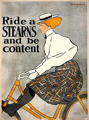 E. C. Stearns Bicycle Agency - Stearns poster with liberated woman of the time on the popular Yellow Fellow model in 1896