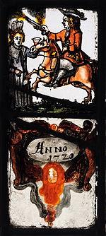Glasmalereischeibe von 1720 mit einem Reiter und einer Frau mit einem Willkommenstrunk