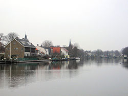 Koudekerk seen from across the river at Hazerswoude-Rijndijk