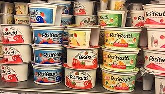 Risalamande - Risifrutti for sale in a grocery store