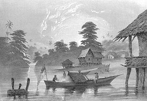 Kangchu system - Chinese coolies at the river base of Jurong River in 1860. The gambier and pepper plantation is in the picture background.