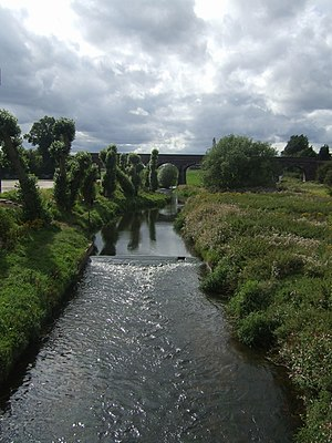 River Penk - The Penk at Penkridge, with Penkridge Viaduct in the background.