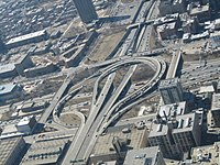 A compact highway interchange (Circle Interchange) in Chicago, Illinois,USA.