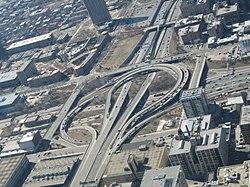 Un cruce de autopistas en Chicago.