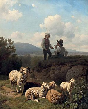 Robert Eberle - Young shepherds with their flock