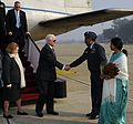 Robert M. Gates and his wife Becky Gates are greeted by Indian officials, January 2010.jpg