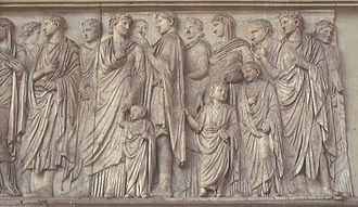 Germanicus - Ara Pacis: processional frieze showing members of the Imperial household (south face). Germanicus is the toddler holding Antonia Minor's hand.